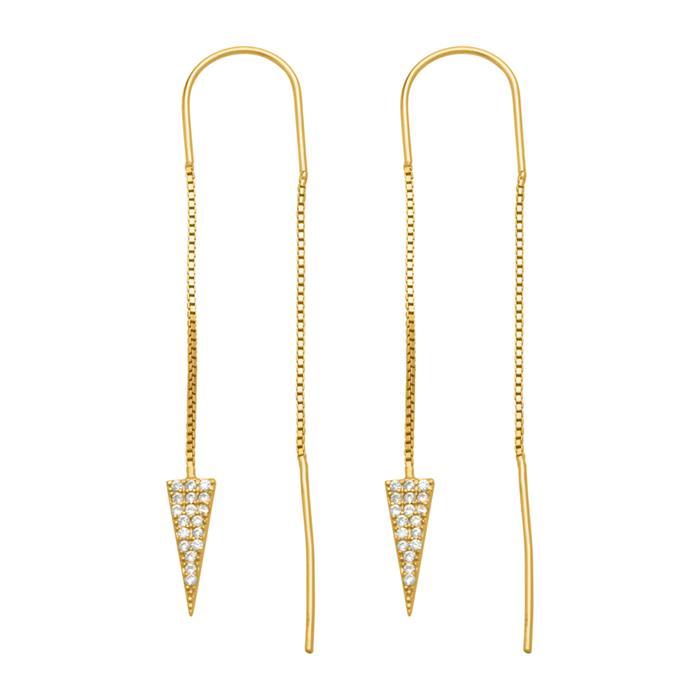 Dreieckige Ohrhänger 925er Silber Zirkonia gold