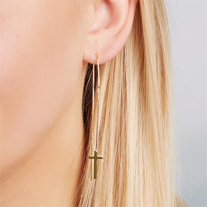 Kreuz-Ohrhänger 925er Silber gold