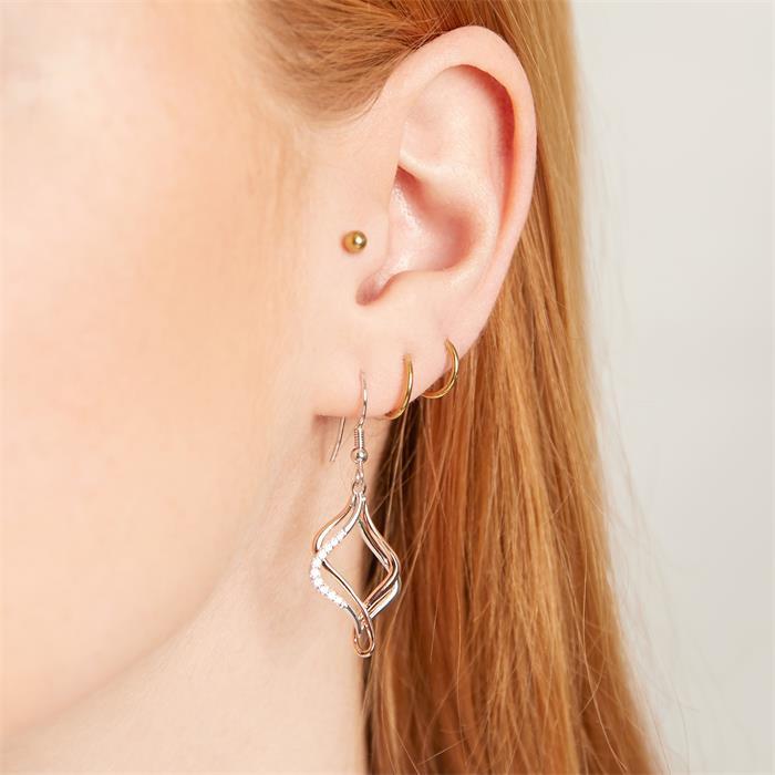 Ohrringe aus 925er Silber Bicolor mit Zirkonia
