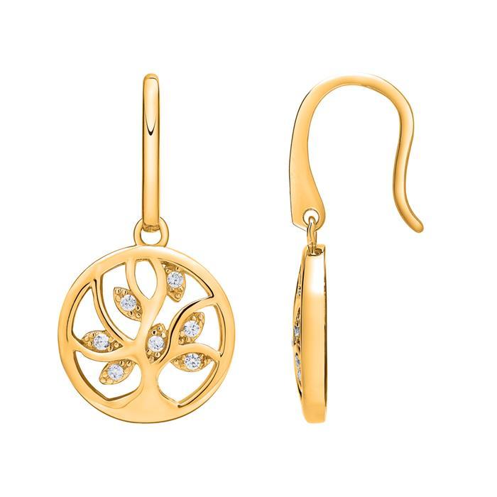 Vergoldete 925er Silber Ohrhänger Lebensbaum Zirkonia