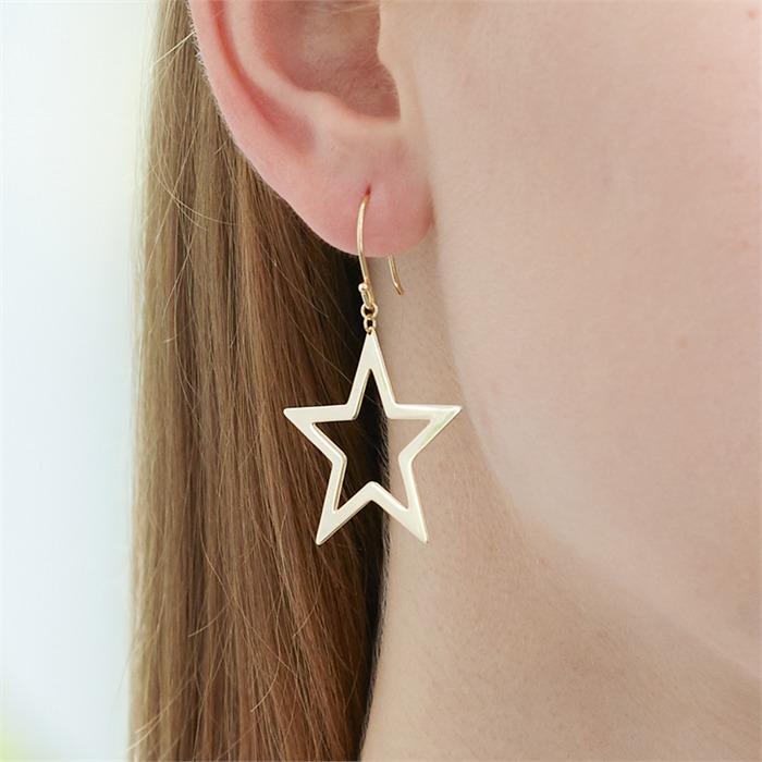 Stern Ohrhänger aus vergoldetem Sterlingsilber