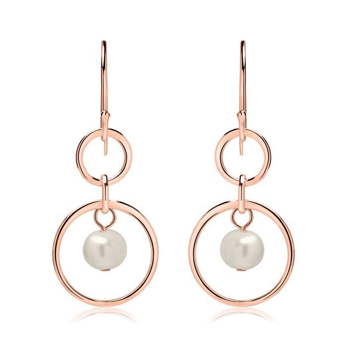 Ohrhänger aus rosévergoldetem Sterlingsilber mit Perlen