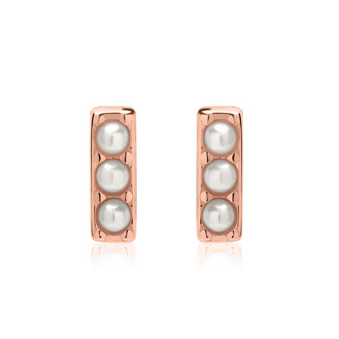 Ohrstecker aus rosévergoldetem 925er Silber mit Perlen