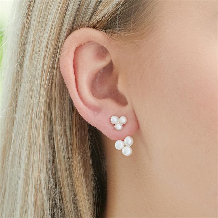 Ear Jackets aus rosévergoldetem 925er Silber mit Perlen