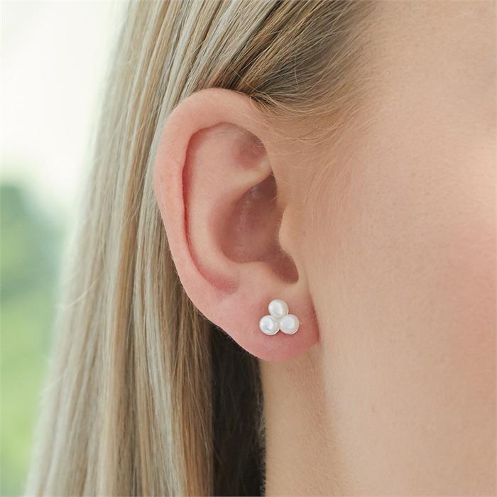 Rosévergoldete 925er Silber Ohrstecker mit Perlen