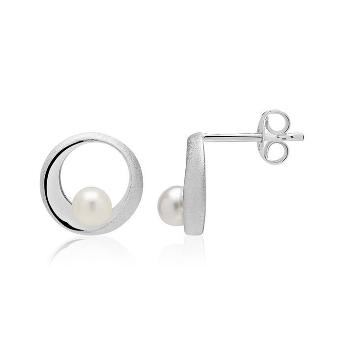 Kreis Ohrstecker aus 925er Silber mit Perlen