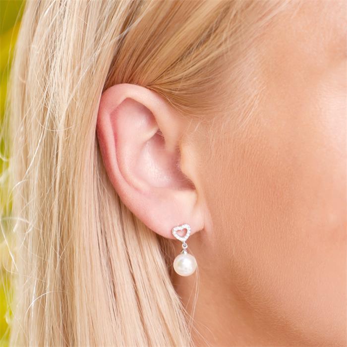 Damen Ohrstecker aus 925er Silber Perlen und Zirkonia