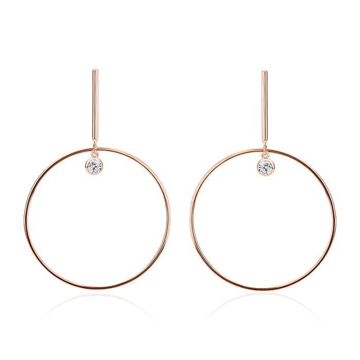 Rosévergoldete 925er Silber Ohrhänger Damen Zirkonia
