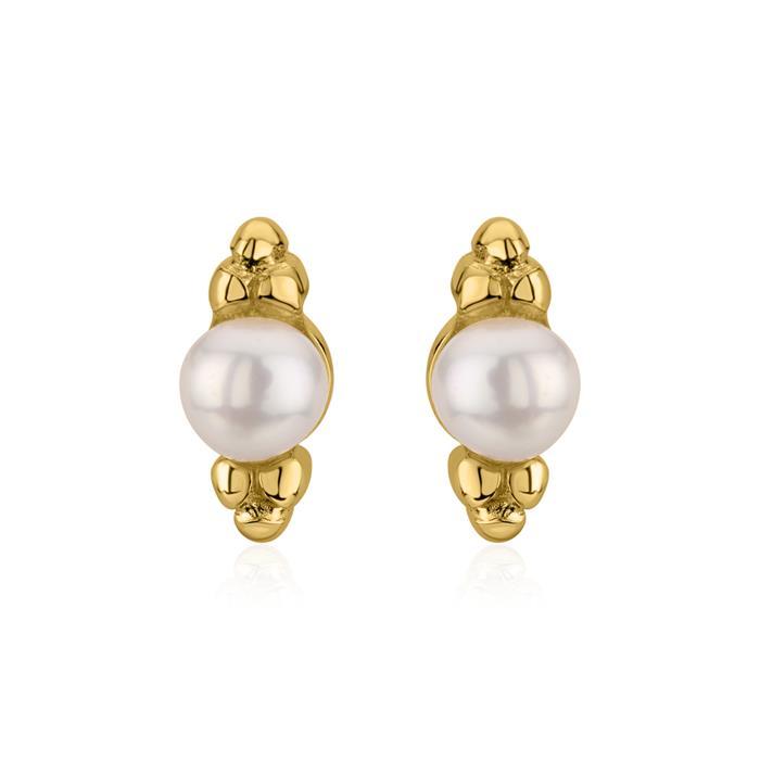 Perlenohrstecker für Damen aus 925er Silber, vergoldet