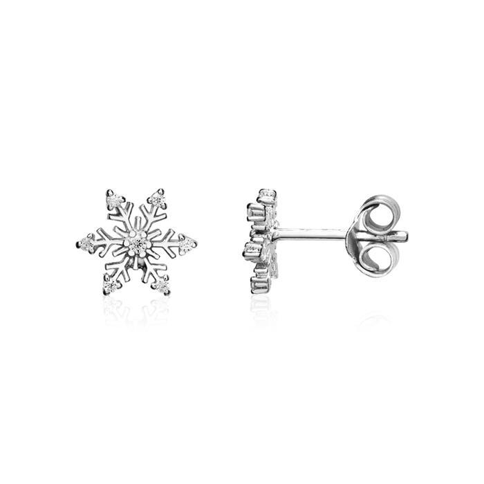 Schneeflocken Ohrstecker aus 925er Silber mit Zirkonia