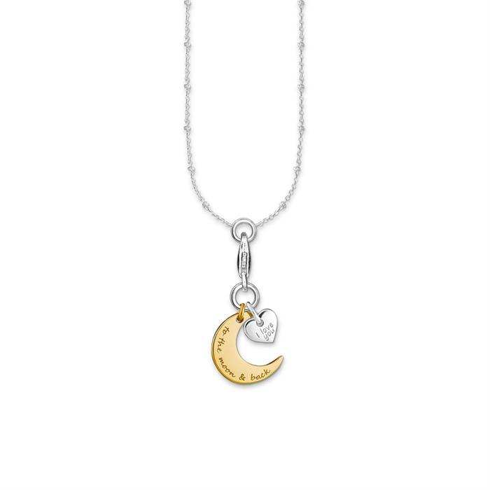 Charm Kette Herz Mond 925er Silber bicolor
