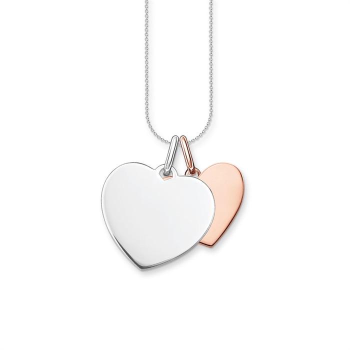925er Silberkette mit Herzanhängern