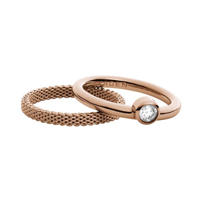 Damen Ringset Elin aus rosévergoldetem Edelstahl