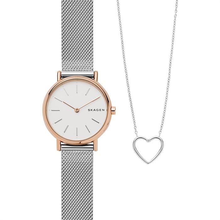 Set Katrine Uhr und Herzkette aus Edelstahl mit Diamant