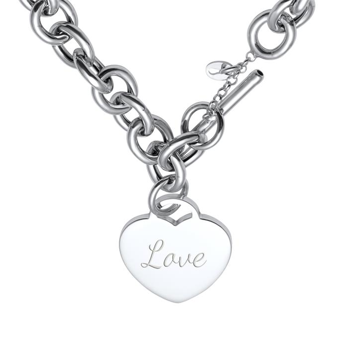 Moderne Silberkette mit Herzanhänger