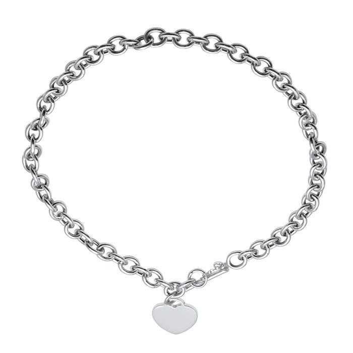 Modern Silver Necklace With Heart Pendant