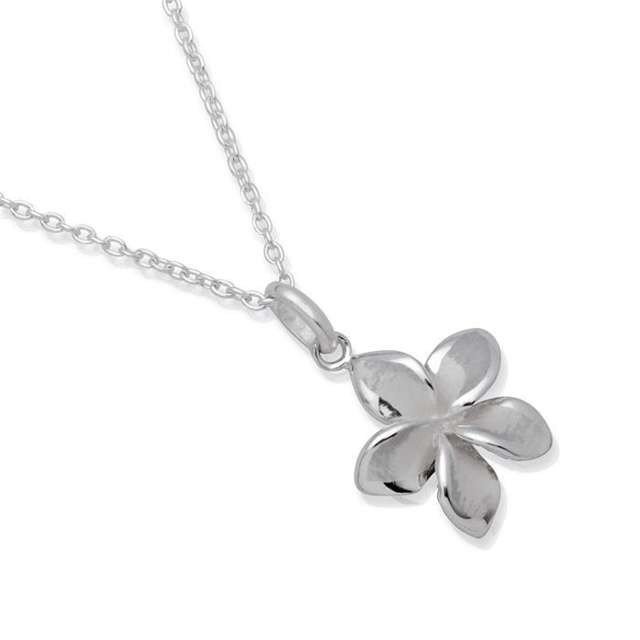 Silbercollier Blumenanhänger Verlängerungskette
