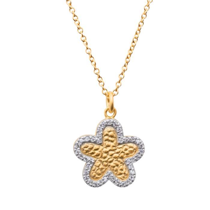 Vergoldete 925 Silberkette mit Blumenanhänger