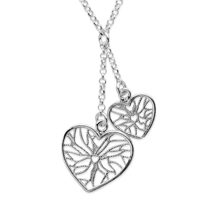 925 Silberkette mit Herzanhängern