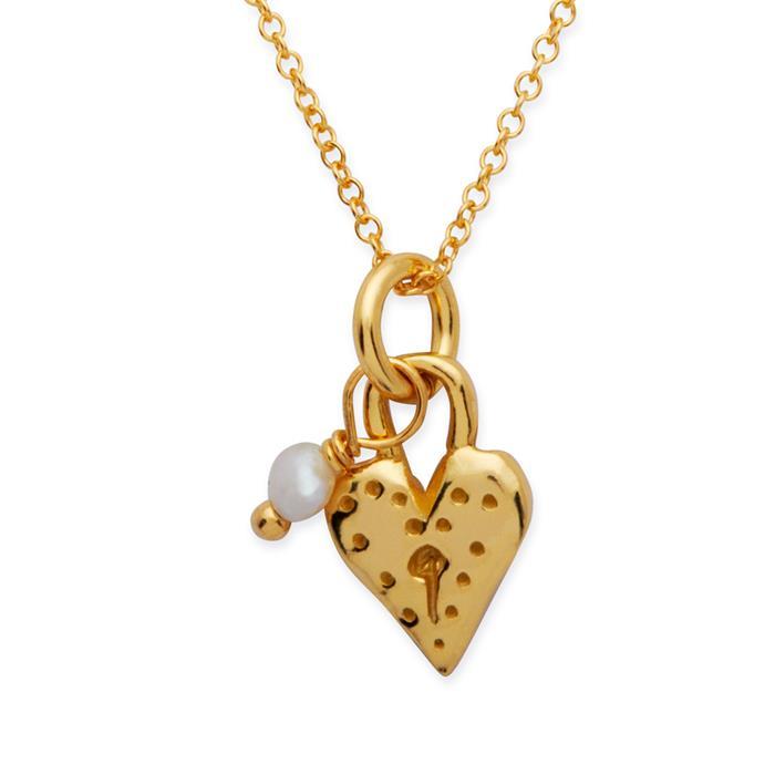 Silberkette 925 vergoldet Herzanhänger Perle