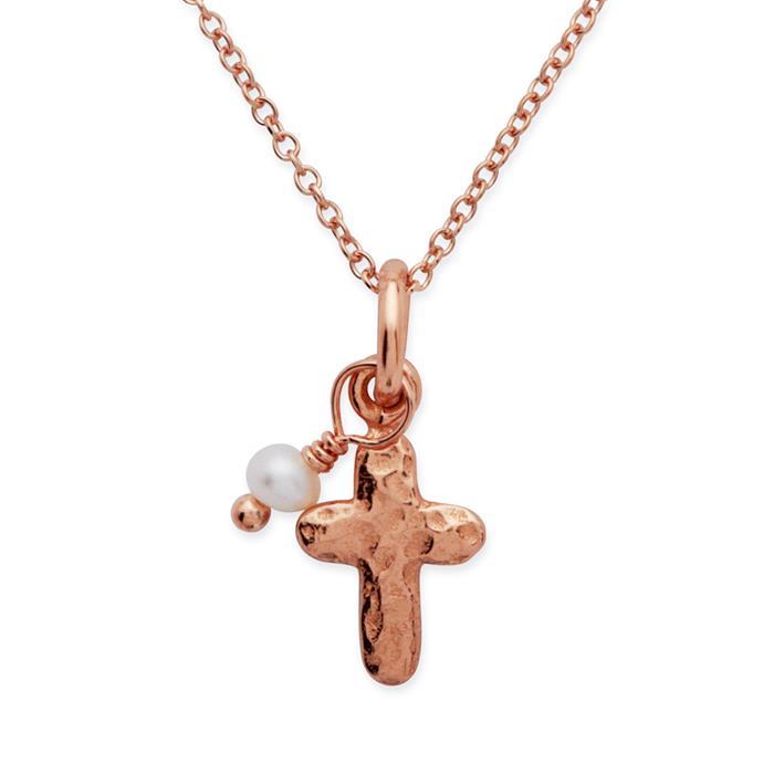 925 Silberkette vergoldet Kreuzanhänger Perle