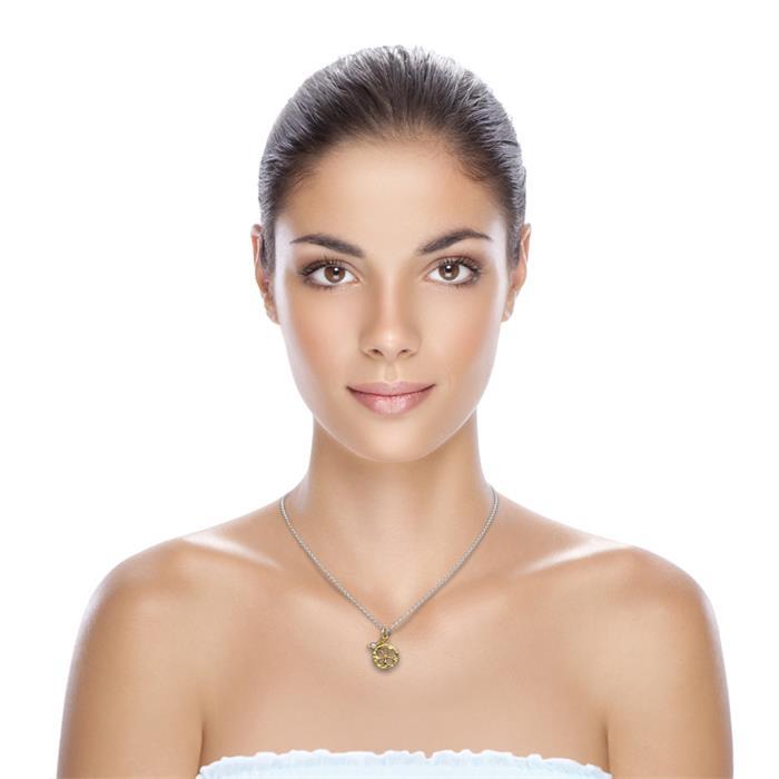 Vergoldete Silberkette Blumenanhänger und Perle