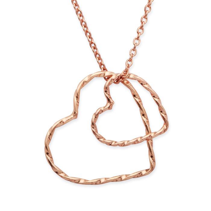 Silberkette 925 rose vergoldet mit Herzanhänger