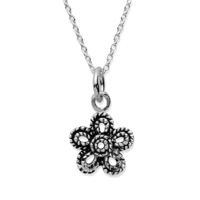 925 Silberkette mit Blumennanhänger