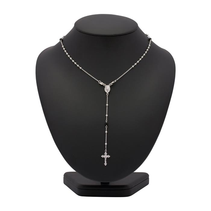 Silberkette mit Onyxelementen und Anhängern