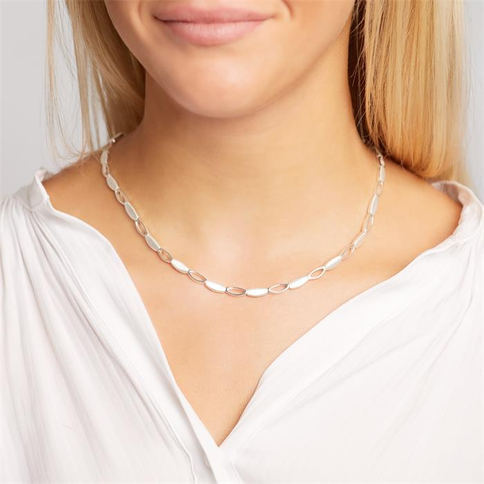 Modernes Collier 925 Silber glänzend matt