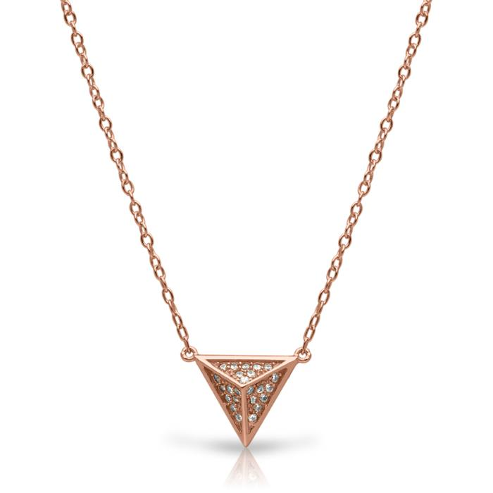 Kette Anhänger Pyramide rosévergoldet Zirkonia