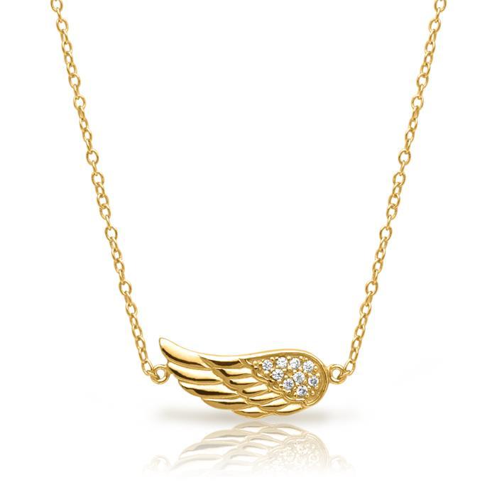 Kette Flügel-Anhänger Silber vergoldet Zirkonia