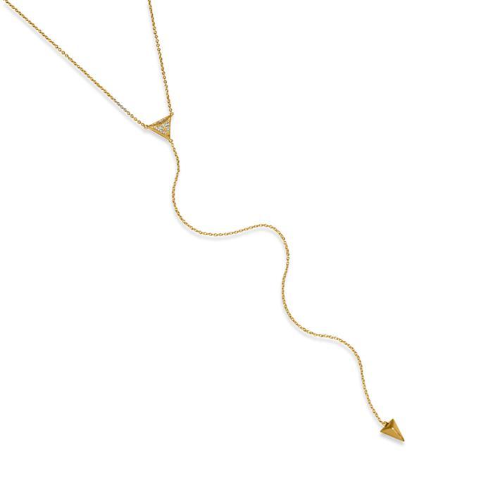 Kette 925er Silber y-förmig vergoldet Zirkonia