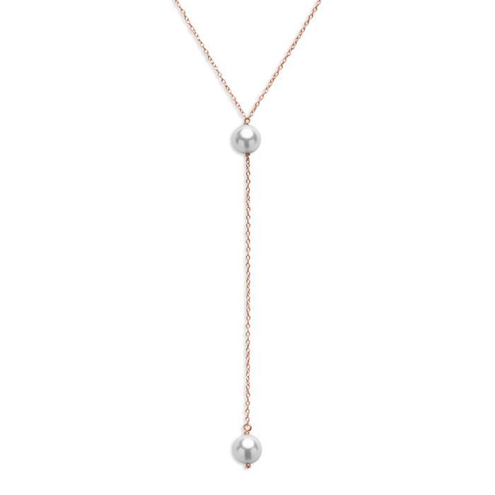 Rosévergoldete Perlenkette 925er Silber