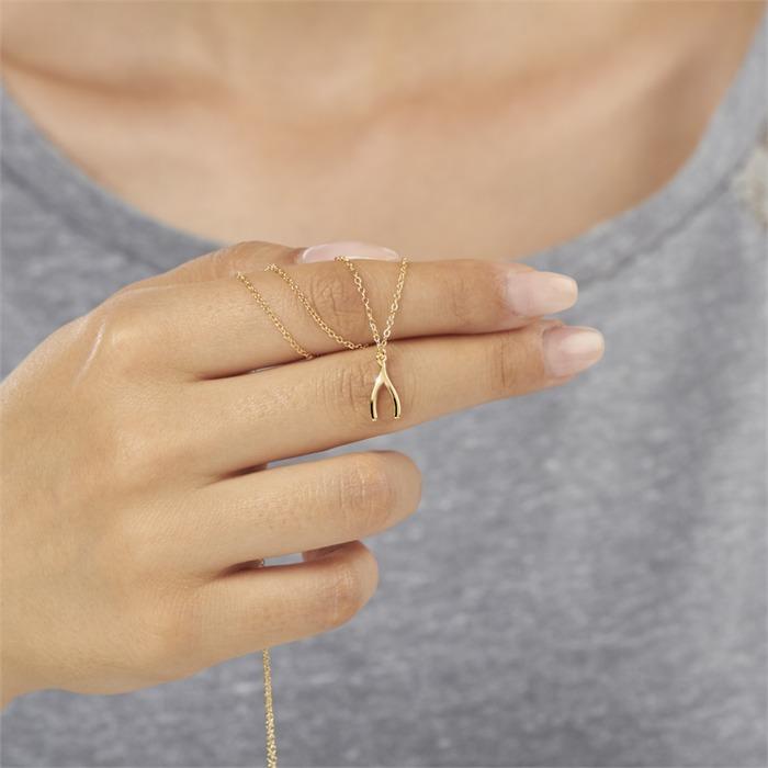Zarte Kette Wünschelrute 925er Silber gold