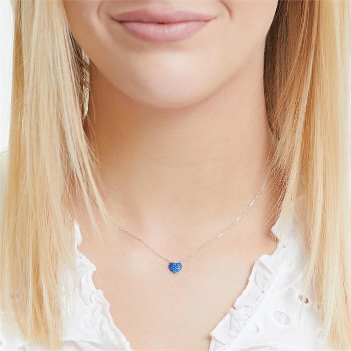 Sterlingsilber-Kette mit Herz blauen Zirkonia