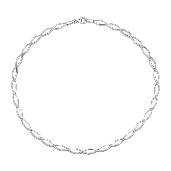 925er Silber Collier mit weißen Zirkonia