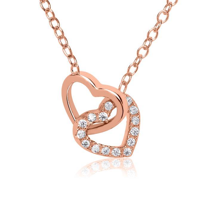 Rosévergoldete 925er Silber Kette Herzen