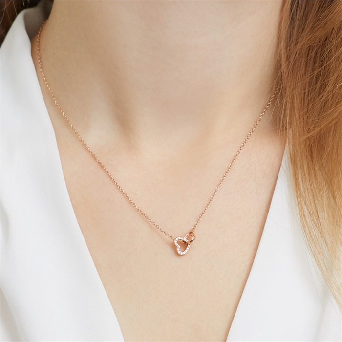 Rose Gold Plated Sterling Silver Necklace Hearts