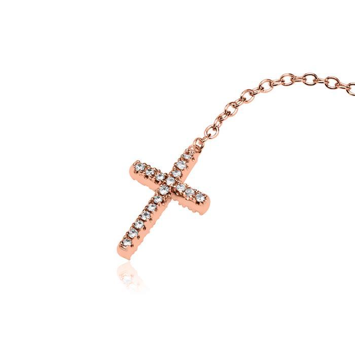 Y-Kette 925er Silber Roségold mit Kreuzanhänger