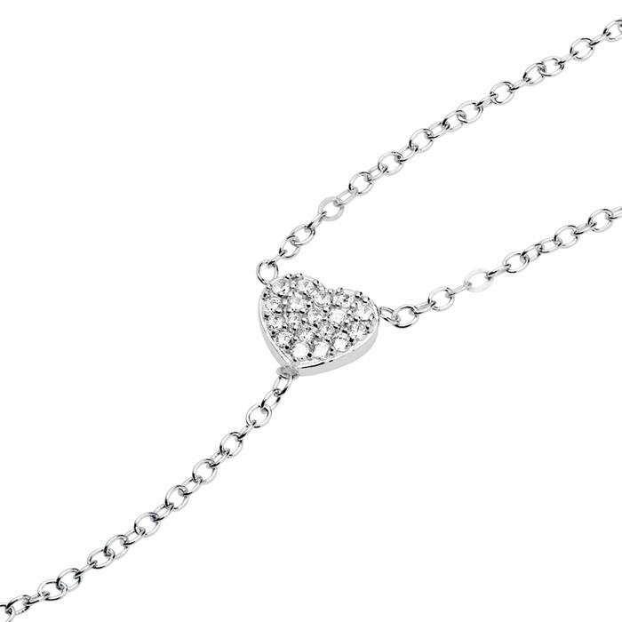 925er Silber Y-Kette Herzen Zirkonia