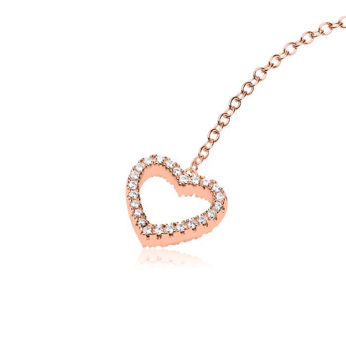 Rosévergoldete 925er Silber Y-Kette Herzen