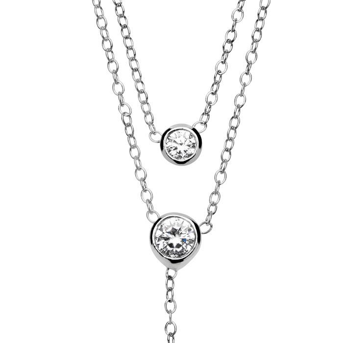 925er Silber Kette Zirkonia Süßwasserperle