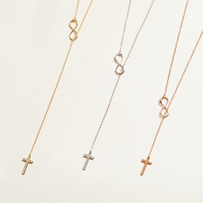 Y-Kette 925er Silber Roségold Kreuz Infinity