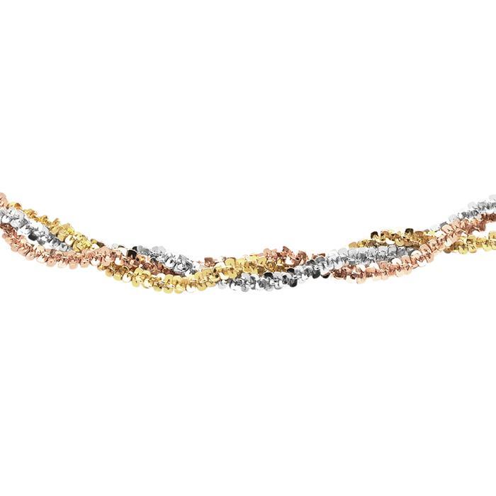 Tricolore Damenkette aus 925er Sterlingsilber
