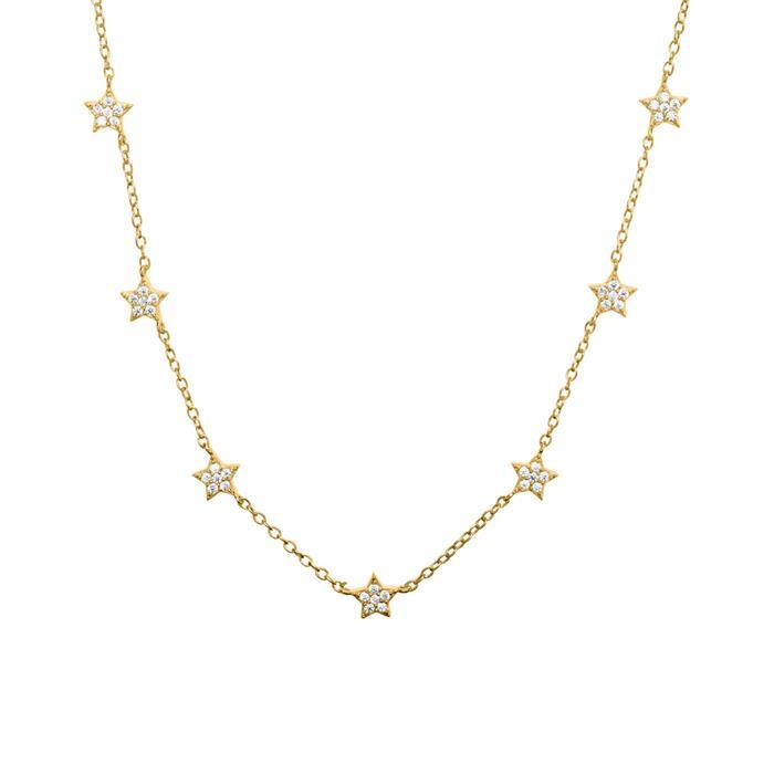 Halskette Sterne 925er Silber vergoldet mit Zirkonia