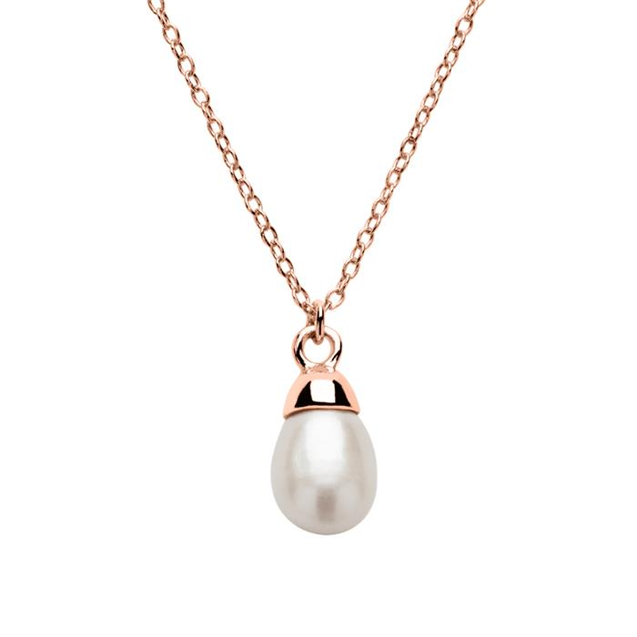 Damenkette aus 925er Silber rosévergoldet mit Perle