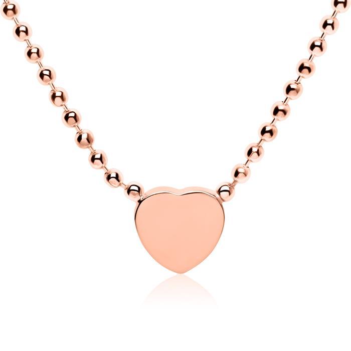 Gravierbare Kette Herz aus rosévergoldetem 925er Silber
