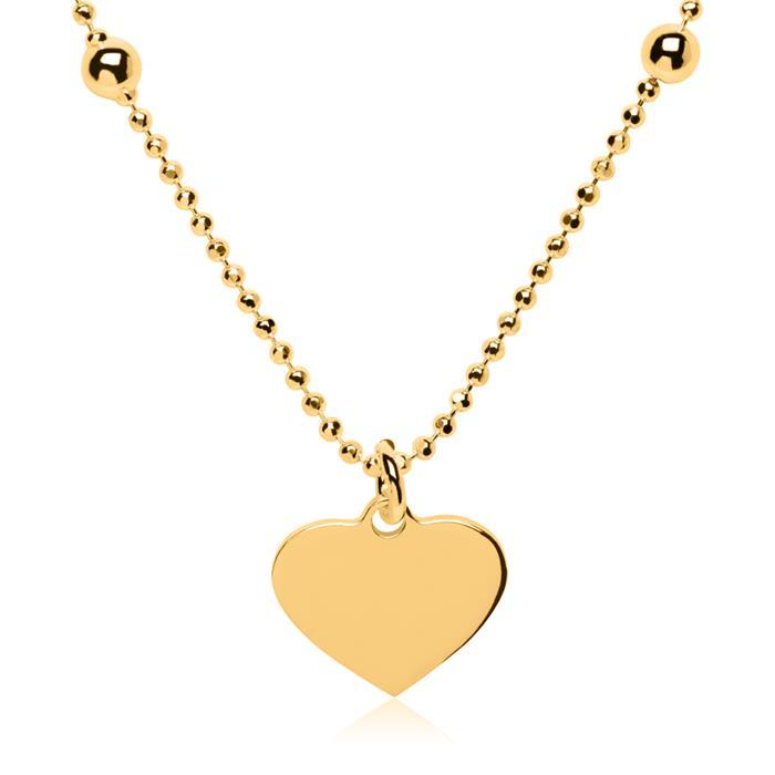 Gravierbare Herzkette aus vergoldetem 925er Silber
