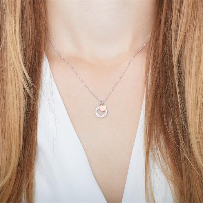 Kette Herz aus Sterlingsilber mit Zirkonia gravierbar